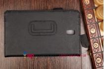 """Фирменный чехол бизнес класса для Samsung Galaxy Tab S 8.4 с визитницей и держателем для руки черный натуральная кожа """"Prestige"""" Италия"""
