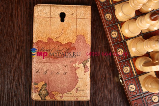 """Чехол-футляр для Samsung Galaxy Tab S 8.4 SM-T700/T705 """"тематика карта мира"""" кожаный коричневый"""