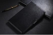 """Фирменный чехол бизнес класса для Samsung Galaxy Tab S 8.4 с визитницей черный натуральная кожа """"Prestige"""" Италия"""