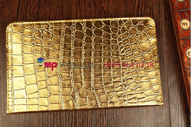 Эксклюзивный чехол для Samsung Galaxy Tab S 8.4 кожа крокодила золотой. Только в нашем магазине. Количество ограничено