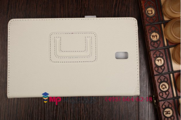 Фирменный чехол-обложка для Samsung Galaxy Tab S 8.4 SM-T700/T705 белый кожаный