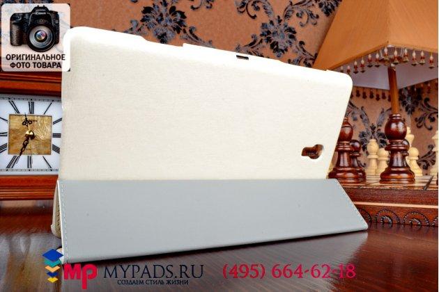 "Фирменный чехол подставка для Samsung Galaxy Tab S 8.4 белый натуральная кожа ""Deluxe"""