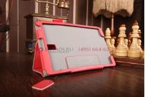 """Фирменный чехол бизнес класса для Samsung Galaxy Tab S 8.4 с визитницей и держателем для руки красный натуральная кожа """"Prestige"""" Италия"""