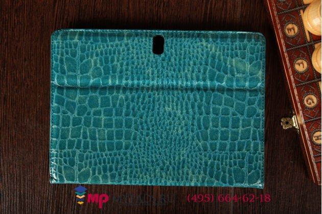 Фирменный чехол для Samsung Galaxy Tab S 10.5 SM-T800/T801/T805 лаковая кожа крокодила бирюзовый