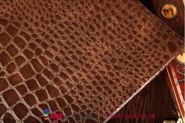 Фирменный чехол для Samsung Galaxy Tab S 10.5 SM-T800/T801/T805 кожа крокодила шоколадный