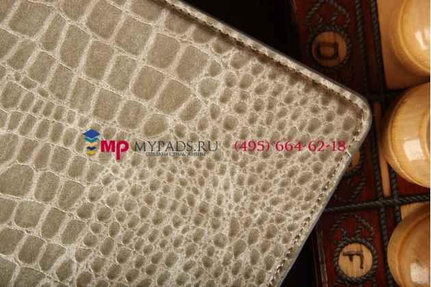 Фирменный чехол-книжка для Samsung Galaxy Tab S 10.5 SM-T800/T801/T805 кожа крокодила серый