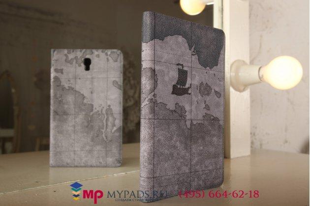 """Чехол-футляр для Samsung Galaxy Tab S 8.4 SM-T700/T705 """"тематика карта мира"""" кожаный серый"""