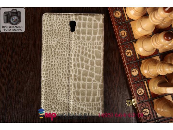 Фирменный чехол-книжка для Samsung Galaxy Tab S 8.4 SM-T700/T705 кожа крокодила серый..
