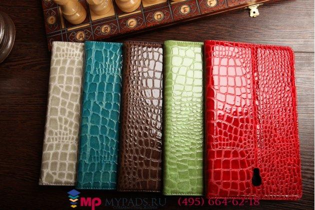 Фирменный чехол-книжка для Samsung Galaxy Tab S 8.4 SM-T700/T705 кожа крокодила серый