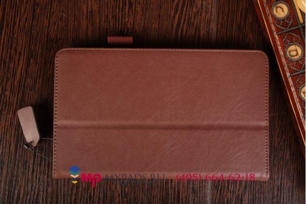 """Фирменный чехол бизнес класса для Samsung Galaxy Tab S 8.4 с визитницей и держателем для руки коричневый натуральная кожа """"Prestige"""" Италия"""