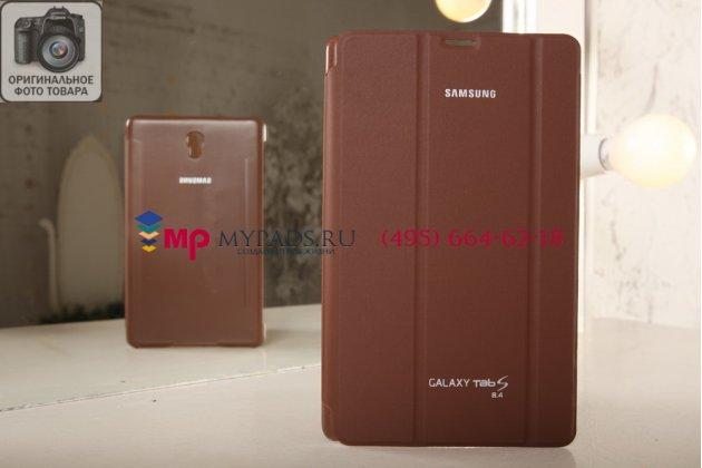 """Чехол с логотипом для Samsung Galaxy Tab S 8.4 SM-T700/T705 с дизайном """"Book Cover"""" коричневый бронзовый"""