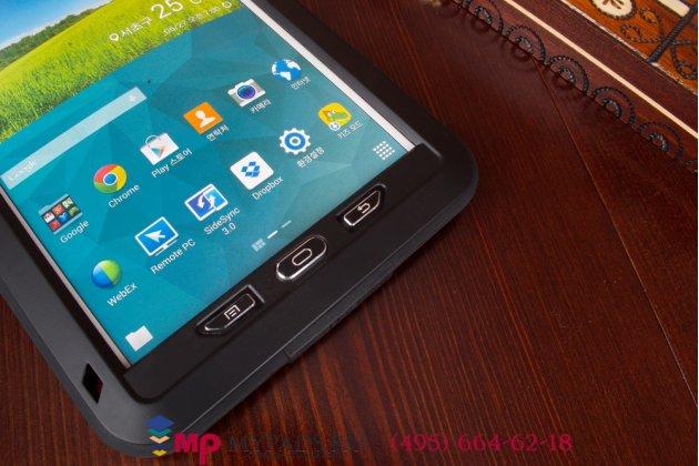 Неубиваемый водостойкий противоударный водонепроницаемый грязестойкий влагозащитный ударопрочный фирменный чехол-бампер для Samsung Galaxy Tab S 8.4 SM-T700/T705 цельно-металлический со стеклом Gorilla Glass
