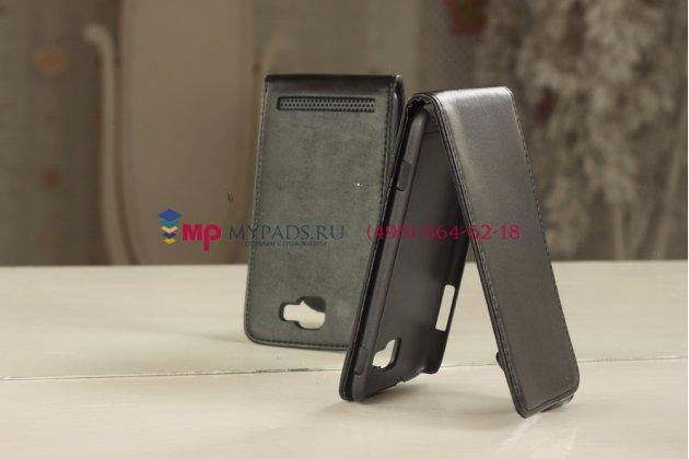 Фирменный вертикальный откидной чехол-флип для Samsung Ativ S GT-i8750 черный кожаный