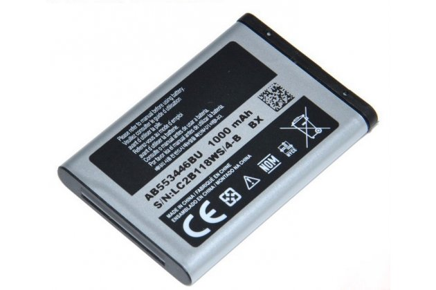 Фирменная аккумуляторная батарея 1000mah AB553446BC на телефон Samsung Champ C3300 + гарантия
