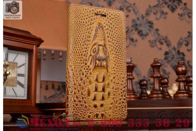 Фирменный роскошный эксклюзивный чехол с объёмным 3D изображением кожи крокодила коричневый для Samsung GALAXY Core Prime SM-G360H. Только в нашем магазине. Количество ограничено