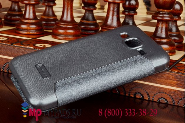 Фирменный оригинальный чехол-книжка для Samsung GALAXY Core Prime SM-G360H черный кожаный с окошком для входящих вызовов
