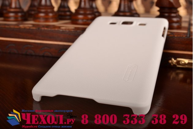 Фирменная задняя панель-крышка-накладка из тончайшего и прочного пластика для Samsung Galaxy A7 белая