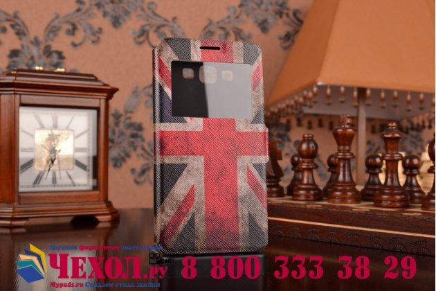 """Фирменный чехол-книжка с рисунком на тему """"Ретро Британский флаг"""" на Samsung Galaxy A7 с окошком для звонков"""