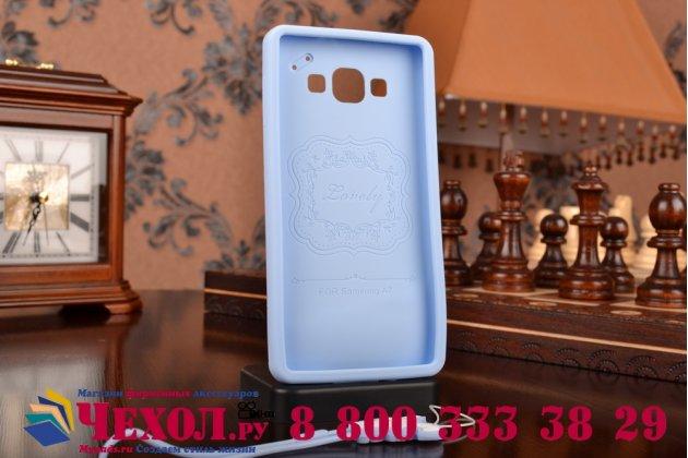 """Фирменная необычная уникальная полимерная мягкая задняя панель-чехол-накладка для Samsung Galaxy A7 """"тематика Андроид в черничном шоколаде"""""""