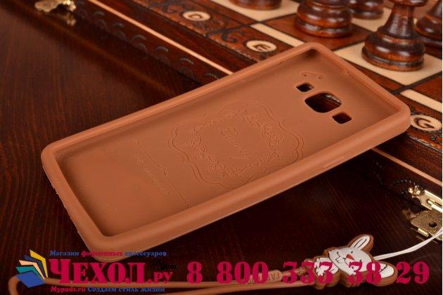 """Фирменная необычная уникальная полимерная мягкая задняя панель-чехол-накладка для Samsung Galaxy A7 """"тематика Андроид в тёмном Шоколаде"""""""