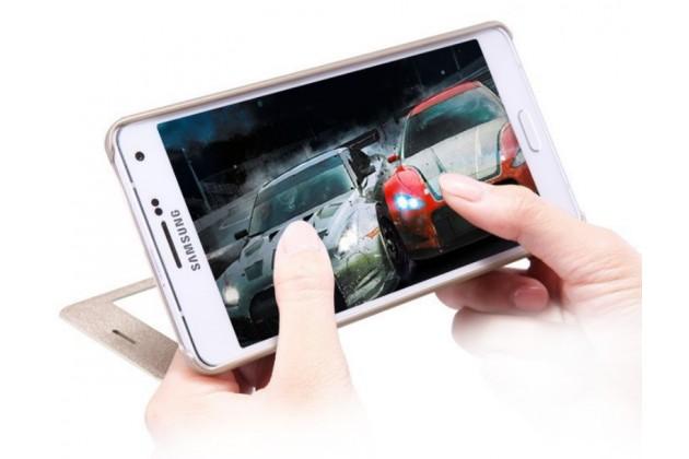 Фирменный чехол-книжка для Samsung Galaxy A7 с функцией умного окна(входящие вызовы, фонарик, плеер, включение камеры) золотой