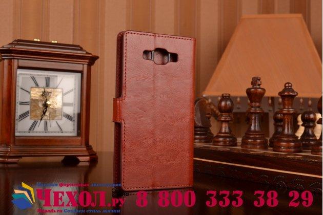 Фирменный чехол-книжка из качественной импортной кожи с мульти-подставкой застёжкой и визитницей для Самсунг Галакси Гэлакси А7 Семь коричневый
