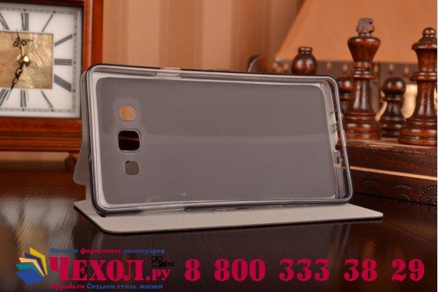 Фирменный чехол-книжка из качественной водоотталкивающей импортной кожи на жёсткой металлической основе для Samsung Galaxy A7 черный