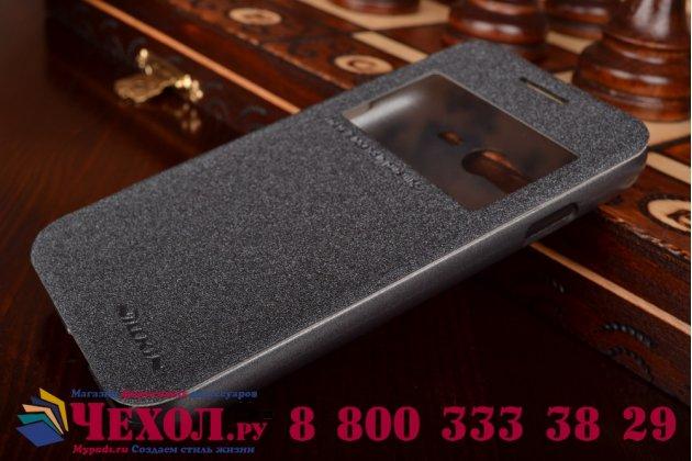 Фирменный оригинальный чехол-книжка для Samsung Galaxy Ace 4 Lite SM-G313H черный кожаный с окошком для входящих вызовов