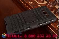 Противоударный усиленный ударопрочный фирменный чехол-бампер-пенал для Samsung Galaxy E7 черный