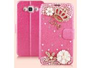 Фирменный роскошный чехол-книжка безумно красивый декорированный бусинками и кристаликами на Samsung Galaxy E7..