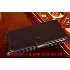 Фирменный чехол-книжка из качественной импортной кожи с мульти-подставкой застёжкой и визитницей для Самсунг Галакси Е7  черный