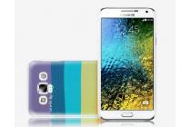"""Фирменная необычная из легчайшего и тончайшего пластика задняя панель-чехол-накладка для Samsung Galaxy E7 """"тематика Все цвета Радуги"""""""