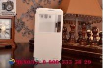 Фирменный оригинальный чехол-книжка для Samsung Galaxy E7 белый кожаный с окошком для входящих вызовов