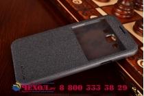 Фирменный оригинальный чехол-книжка для Samsung Galaxy E7 черный кожаный с окошком для входящих вызовов