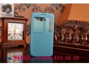 Фирменный оригинальный чехол-книжка для Samsung Galaxy E7 голубой кожаный с окошком для входящих вызовов..