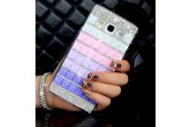 Фирменная роскошная элитная пластиковая задняя панель-накладка украшенная стразами кристалликами и декорированная элементами для Samsung Galaxy E7 малиновая