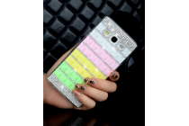 Фирменная роскошная элитная пластиковая задняя панель-накладка украшенная стразами кристалликами и декорированная элементами для Samsung Galaxy E7 радужная