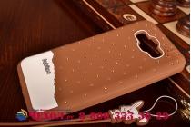 """Фирменная необычная уникальная полимерная мягкая задняя панель-чехол-накладка для Samsung Galaxy E7 """"тематика Андроид в тёмном Шоколаде"""""""