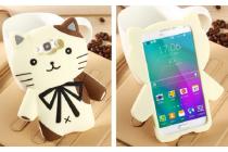"""Фирменная задняя панель-чехол-накладка с объёмным 3D изображением для Samsung Galaxy E7  """"тематика кот Джентельмен"""" бежевая"""