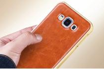 Фирменная роскошная элитная премиальная задняя панель-крышка на металлической основе обтянутая импортной кожей для Samsung Galaxy E7 королевский коричневый