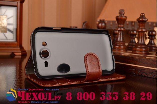 Фирменный чехол-книжка из качественной импортной кожи с мульти-подставкой застёжкой и визитницей для Самсунг Галакси Гелекси Гранд СМ-И9082 коричневый