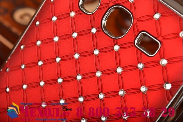 Фирменная роскошная задняя-панель-накладка декорированная кристалликами на Samsung Galaxy Grand GT-i9082 красная