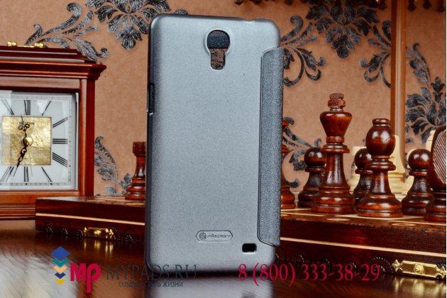 Фирменный оригинальный чехол-книжка для Samsung Galaxy Mega 2 SM-G750F черный кожаный с окошком для входящих вызовов