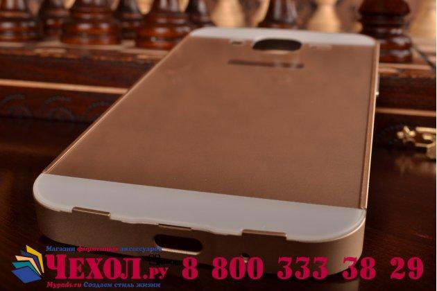 Фирменная металлическая задняя панель-крышка-накладка из тончайшего облегченного авиационного алюминия для Samsung Galaxy Mega 5.8 GT-i9150/i9152 золотая