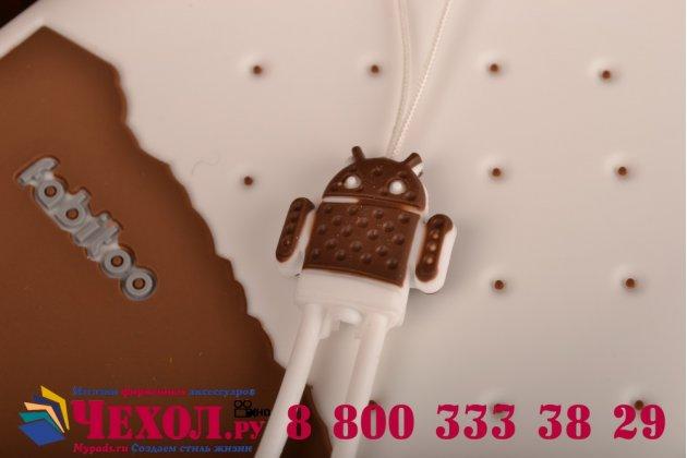 """Фирменная необычная уникальная полимерная мягкая задняя панель-чехол-накладка для Samsung Galaxy Mega 5.8 GT-i9150/i9152 """"тематика Андроид в Белом Шоколаде"""""""
