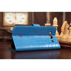 Фирменный чехол-книжка для Samsung Galaxy Mega 5.8 GT-i9150/i9152 лаковая кожа крокодила цвет морской волны