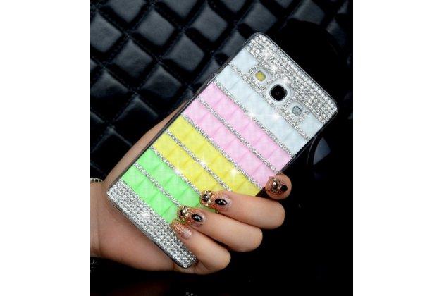 Фирменная роскошная элитная пластиковая задняя панель-накладка украшенная стразами кристалликами и декорированная элементами для Samsung Galaxy Mega 5.8 GT-i9150/i9152 радужная