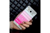 Фирменная роскошная элитная пластиковая задняя панель-накладка украшенная стразами кристалликами и декорированная элементами для Samsung Galaxy Mega 5.8 GT-i9150/i9152 малиновая