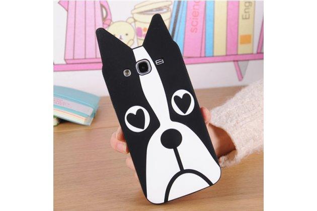 """Фирменная задняя панель-чехол-накладка с объёмным 3D изображением для Samsung Galaxy Mega 5.8 GT-i9150/i9152 """"тематика черно-белая Собака"""""""