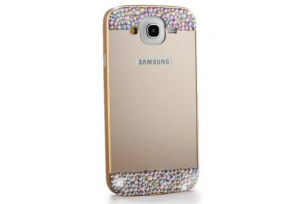 Фирменный оригинальный ультра-тонкий чехол-бампер со стразами для Samsung Galaxy Mega 5.8 GT-i9150/i9152  золотой металлический